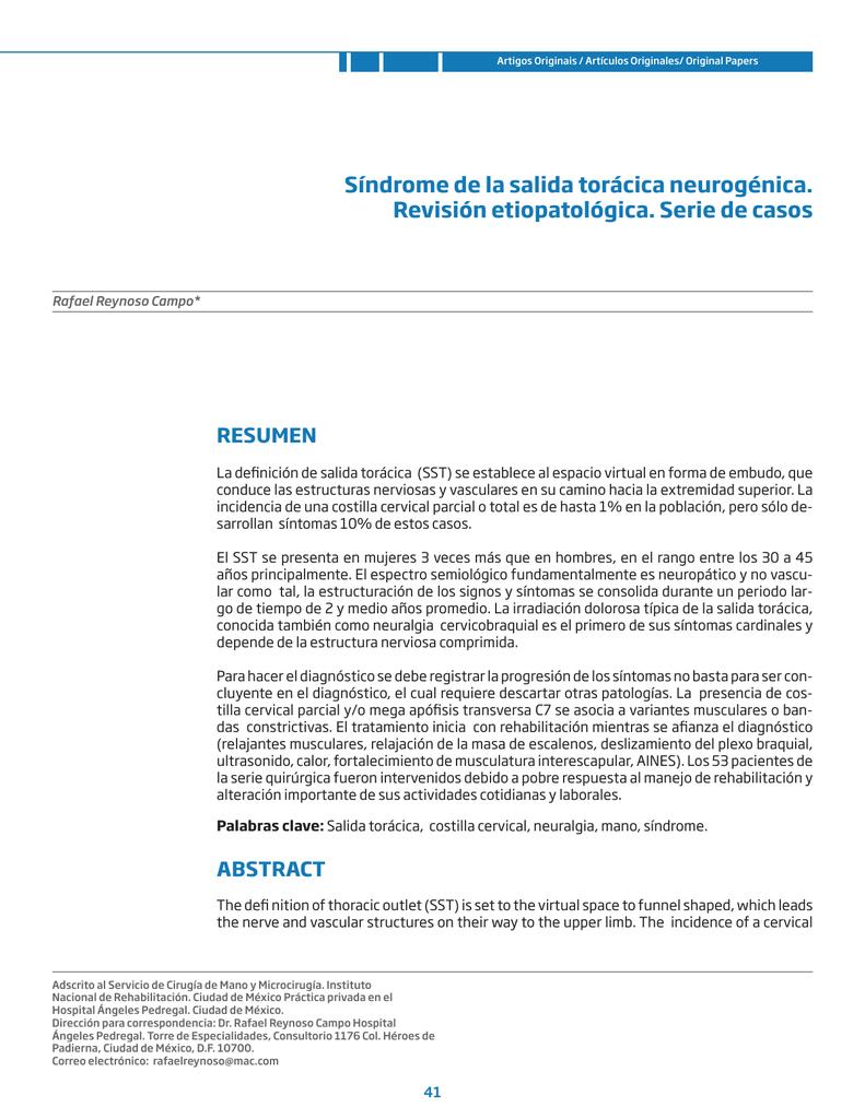 Síndrome de la salida torácica neurogénica. Revisión