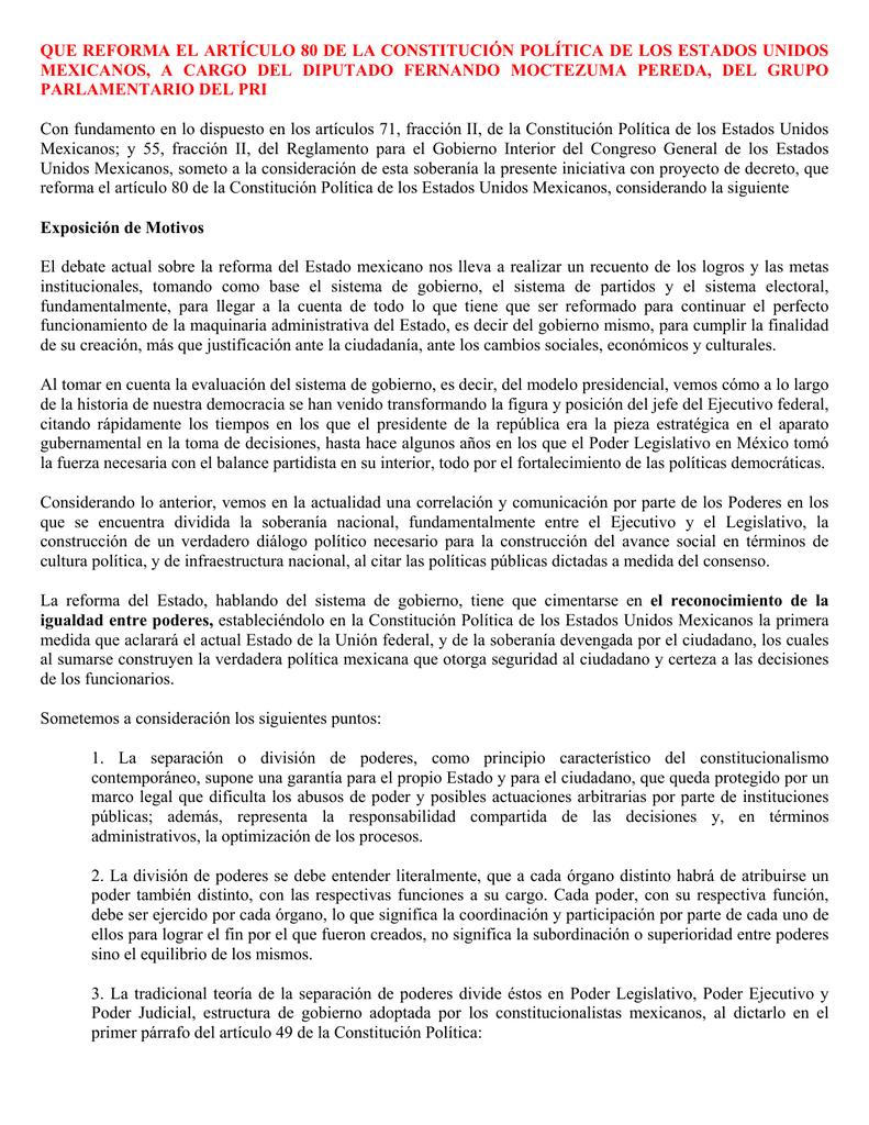 Que Reforma El Artículo 80 De La Constitución Política De