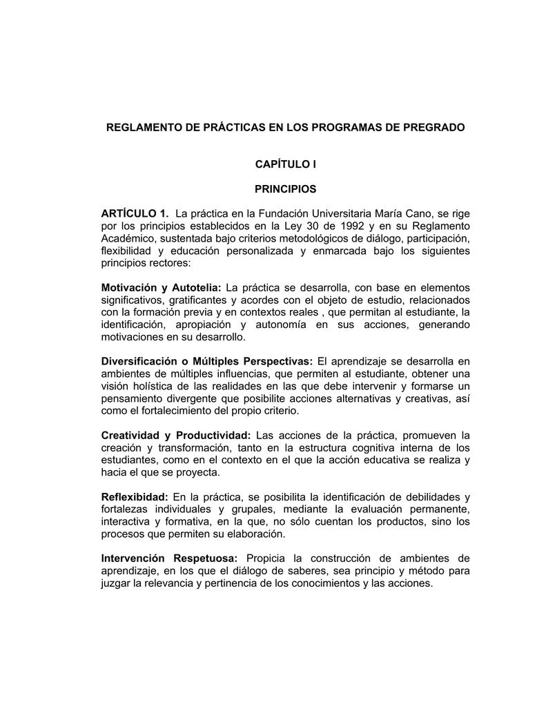 Reglamento De Prácticas Fundación Universitaria María Cano