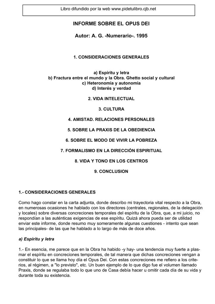 INFORME SOBRE EL OPUS DEI Autor: A. G. -Numerario