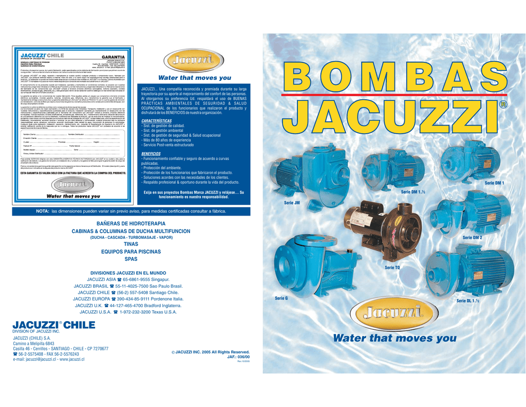 Bombas Jacuzzi Para Piscinas.Catalogo Motobombas Jacuzzi