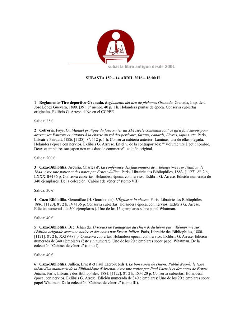 abfc73c69cec SUBASTA 159 – 14 ABRIL 2016 – 18 00 H 1