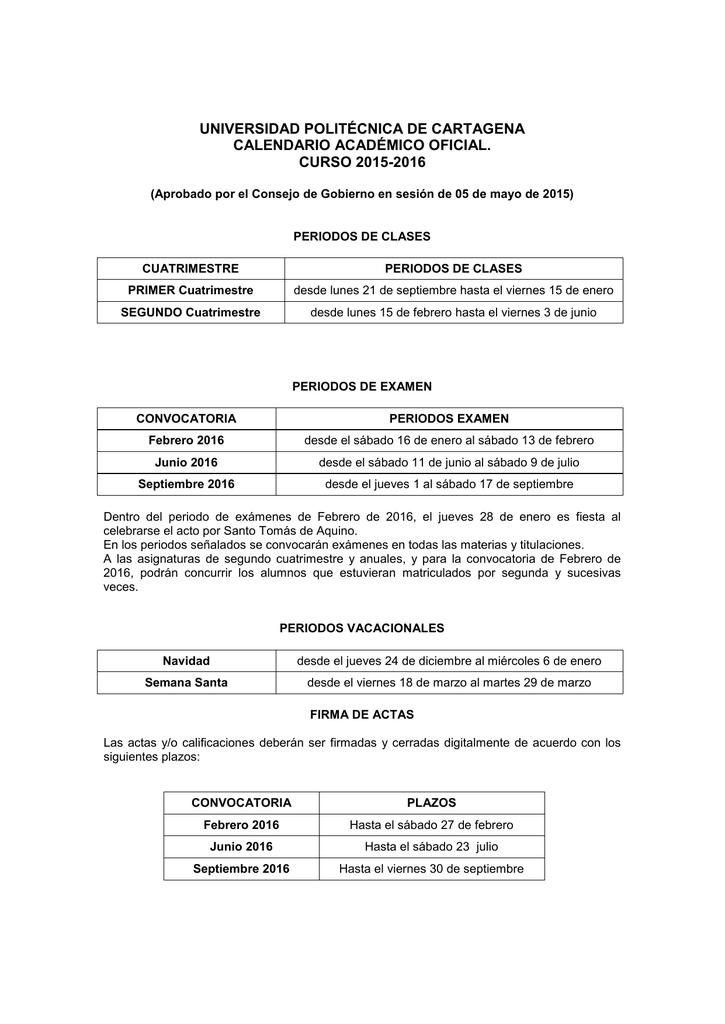 Calendario Etsit.Calendario Academico Curso 2015 16