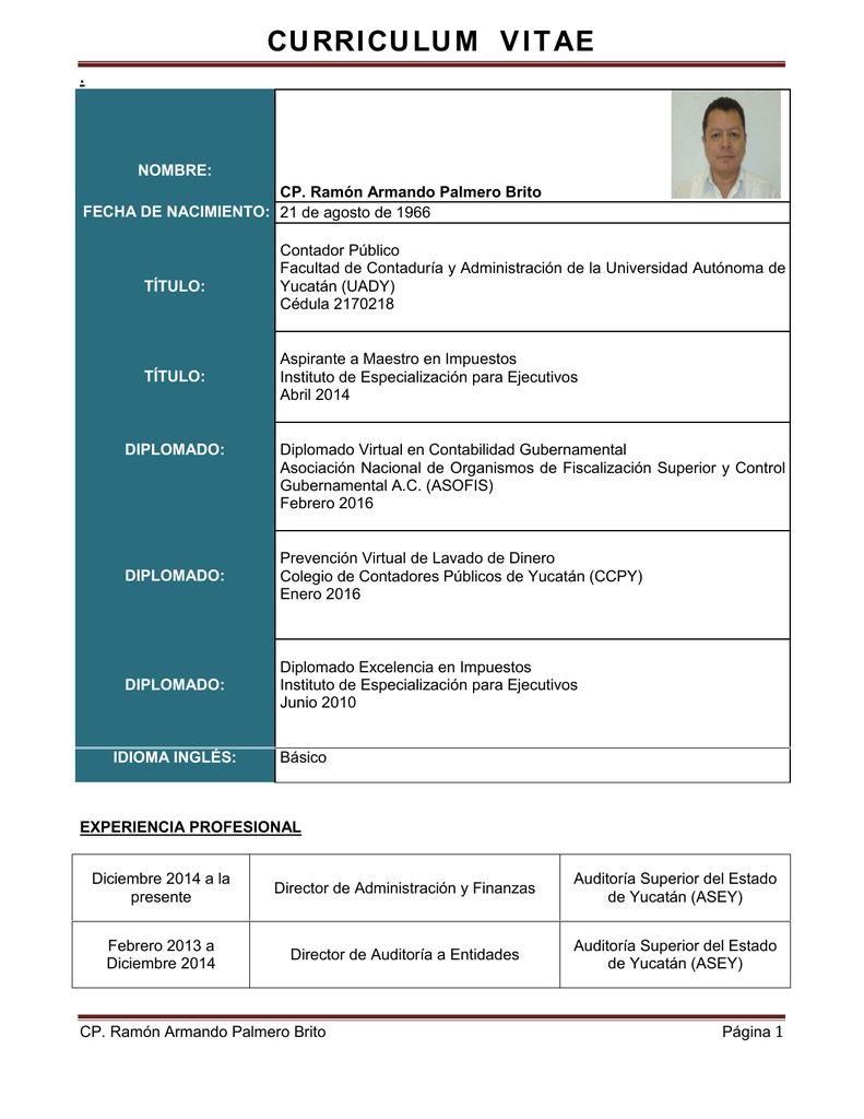 Curriculum Vitae Auditoria Superior Del Estado De Yucatan