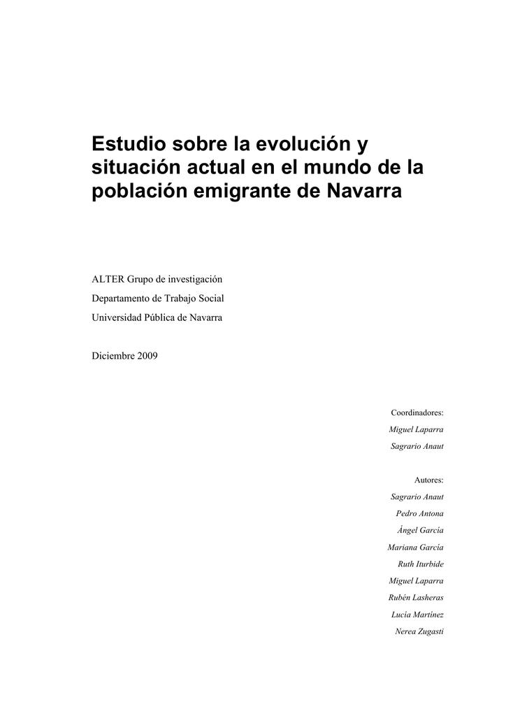 Estudio emigración navarra - Gobierno