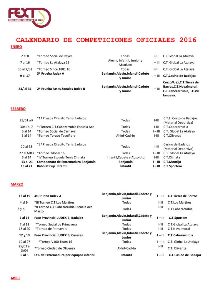 Calendario Uex.Calendario De Competiciones Oficiales 2016