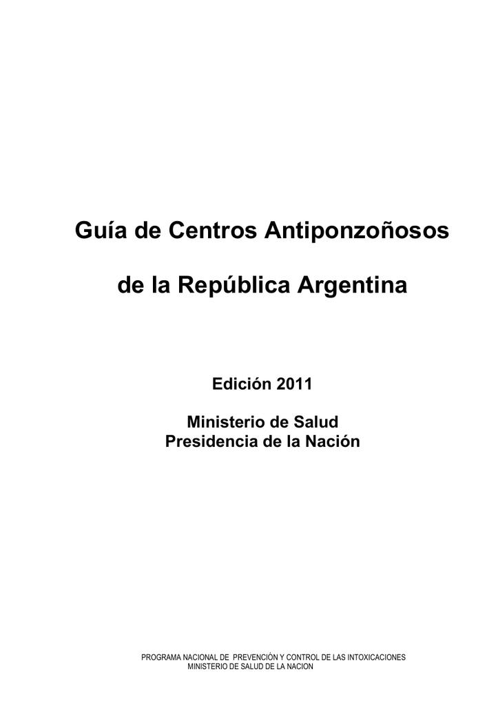 Guía de Centros Antiponzoñosos 2011