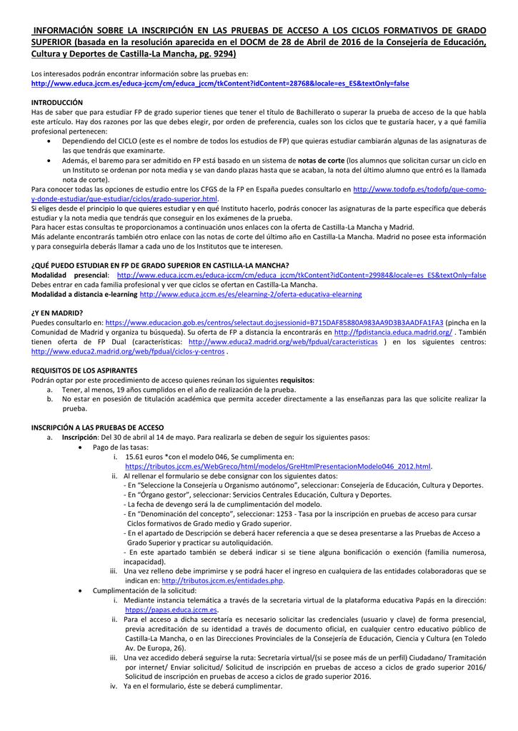 Información Acerca De Las Pruebas De Acceso A Ciclos Formativos
