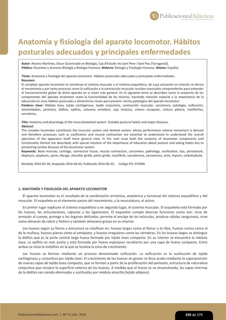 Anatomía y fisiología del aparato locomotor. Hábitos posturales