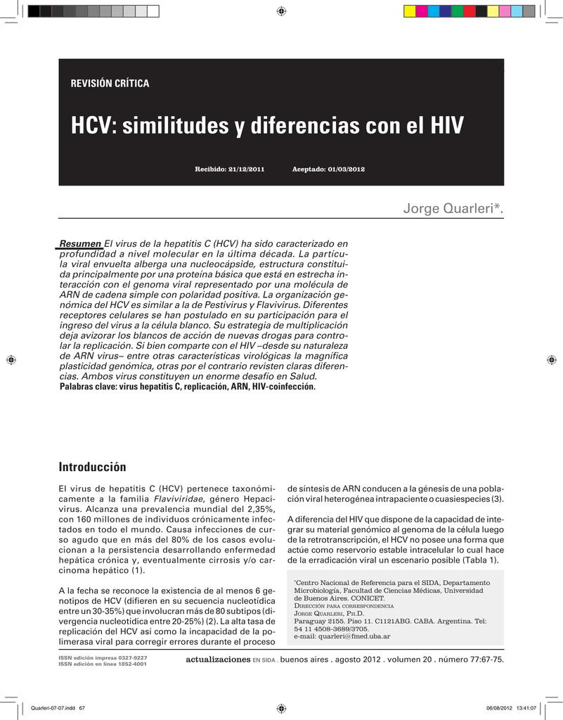 Hcv Similitudes Y Diferencias Con El Hiv
