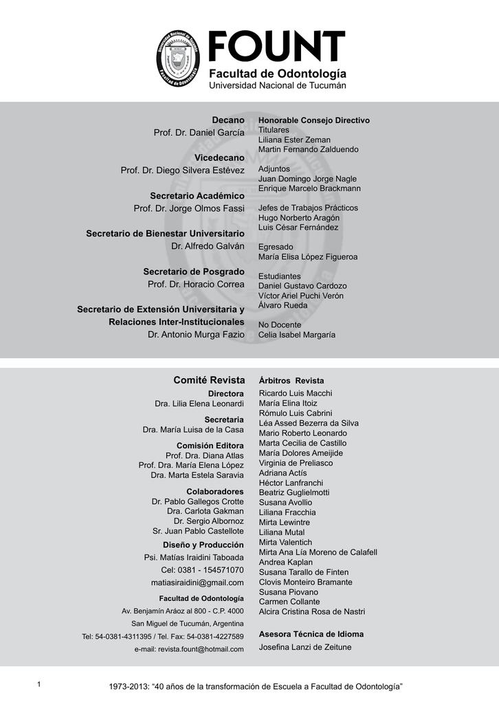 Revista N° 29 - Facultad de Odontología