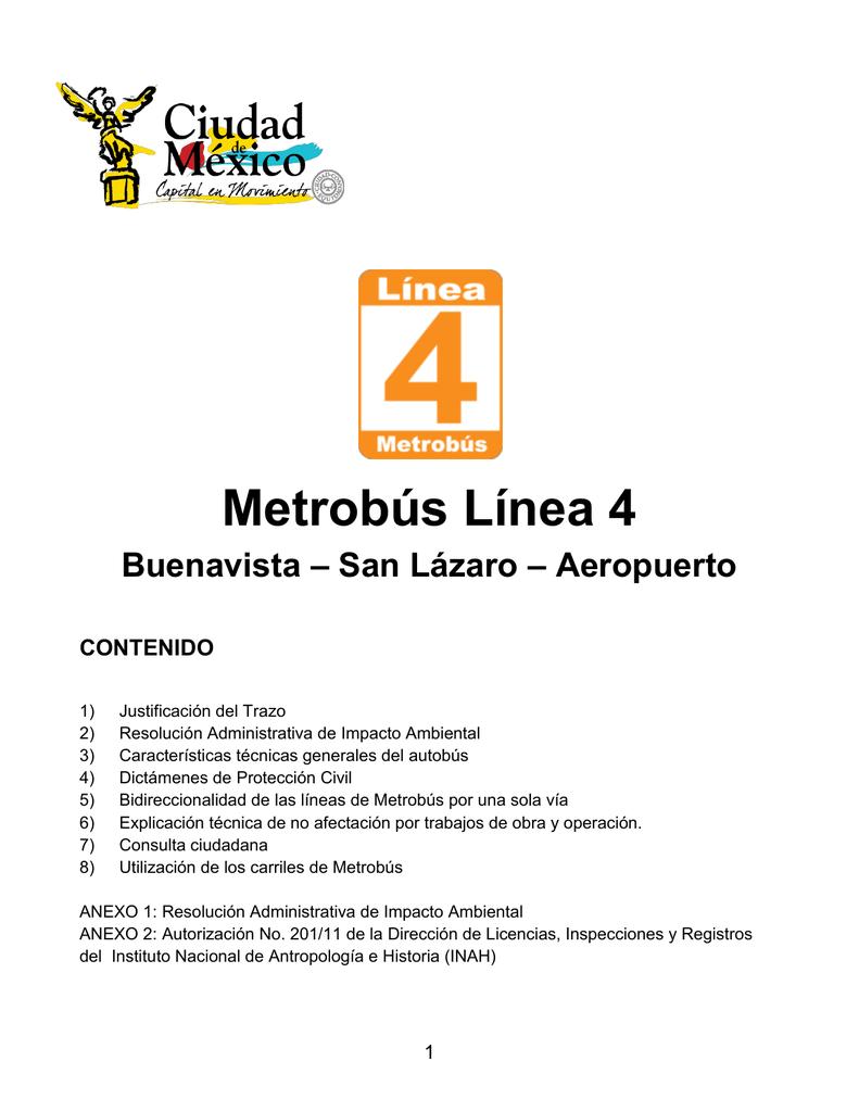 Metrobús Línea 4 Portal De Transparencia Df Información