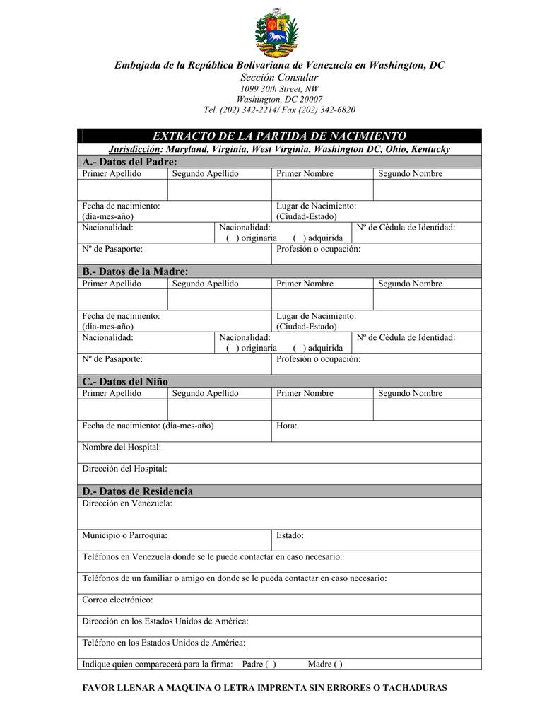 Hermosa Certificado De Nacimiento Washington DC Elaboración ...