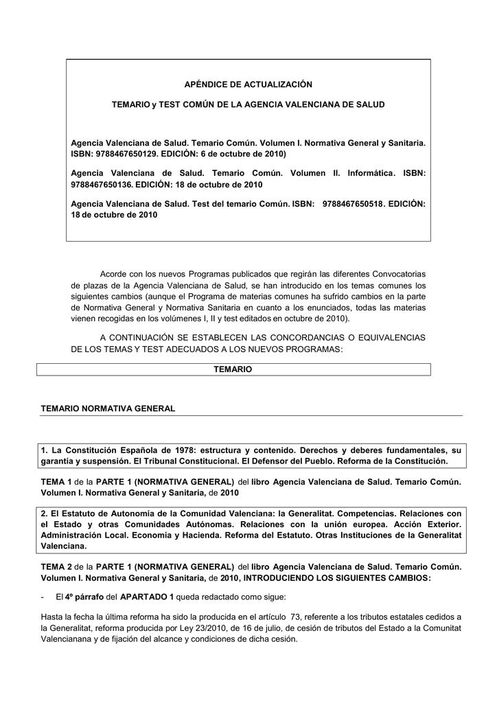 Apéndice De Actualización Temario Y Test Común De La
