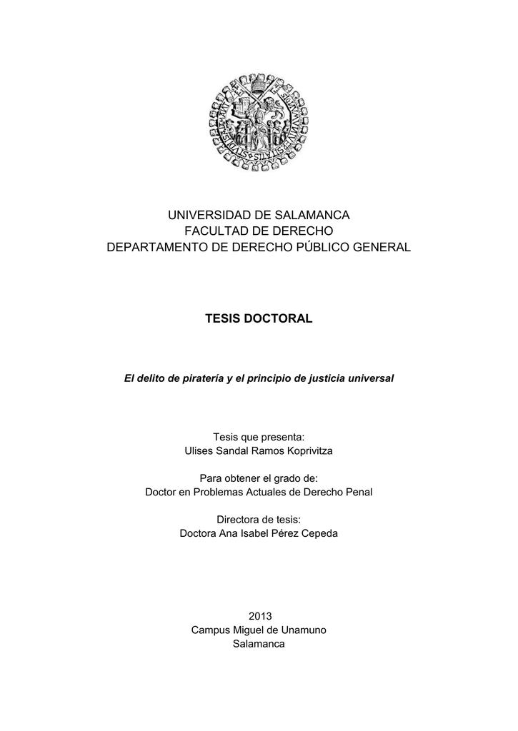 Universidad De Salamanca Facultad De Derecho