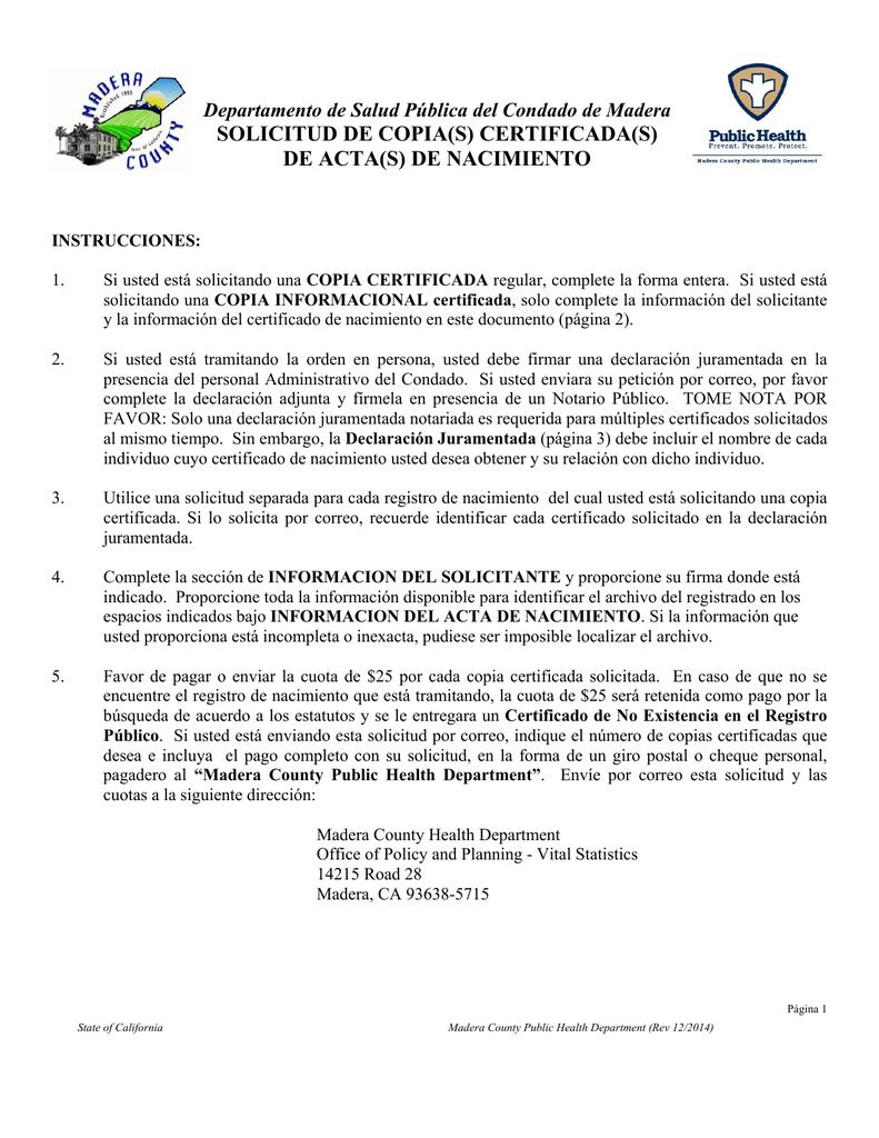 Asombroso Certificado De Nacimiento Registro Civil Del Condado De ...