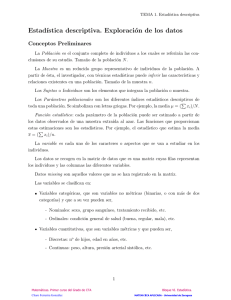Estadística. Tema1. Estadística descriptiva. Exploracion de datos.