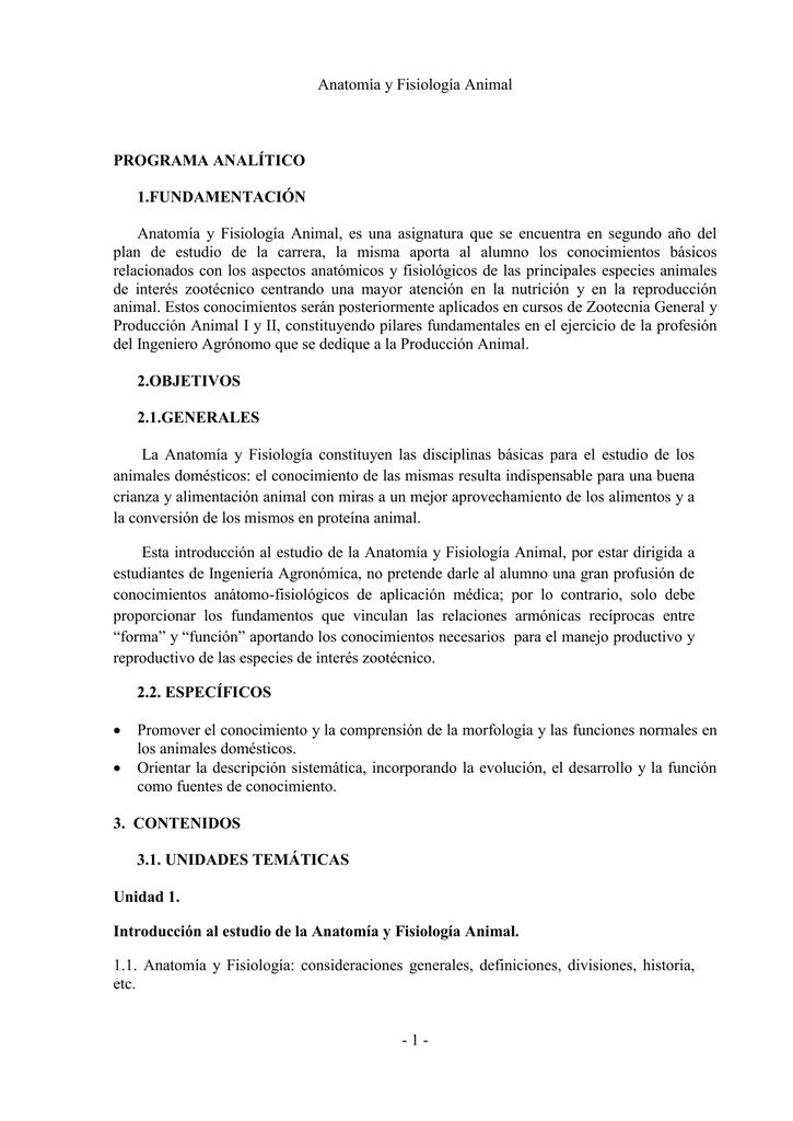 programa de la materia (Anatomía y Fisiología Acnimal)