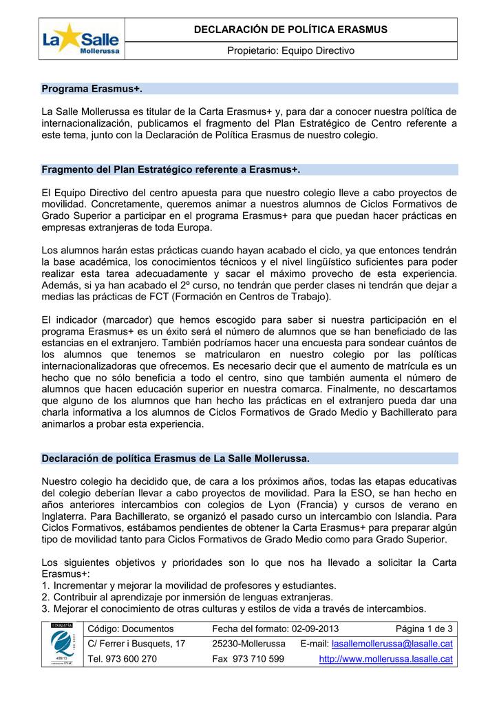 Declaración De Política Erasmus Propietario Equipo