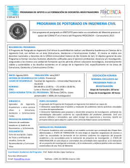 PROGRAMA DE POSTGRADO EN INGENIERIA CIVIL