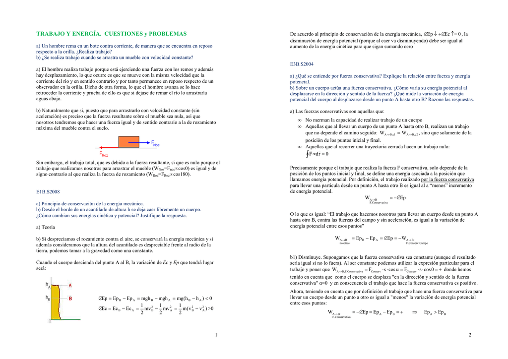 TRABAJO Y ENERGÍA. CUESTIONES y PROBLEMAS