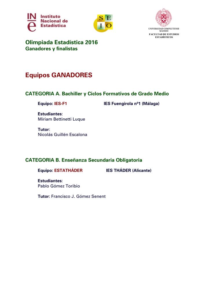 Equipos Ganadores Y Finalistas