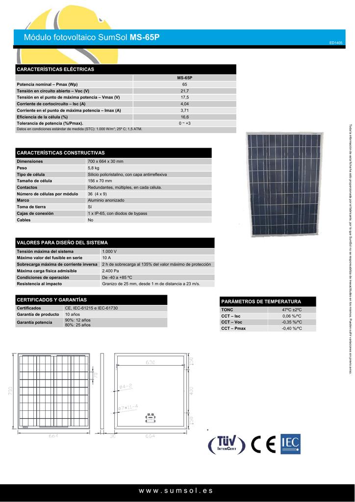 Módulo fotovoltaico SumSol MS-65P