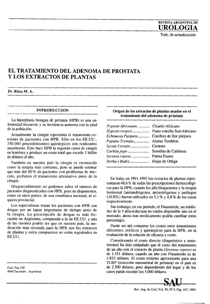 extracto de polen de cernilton para la prostatitis