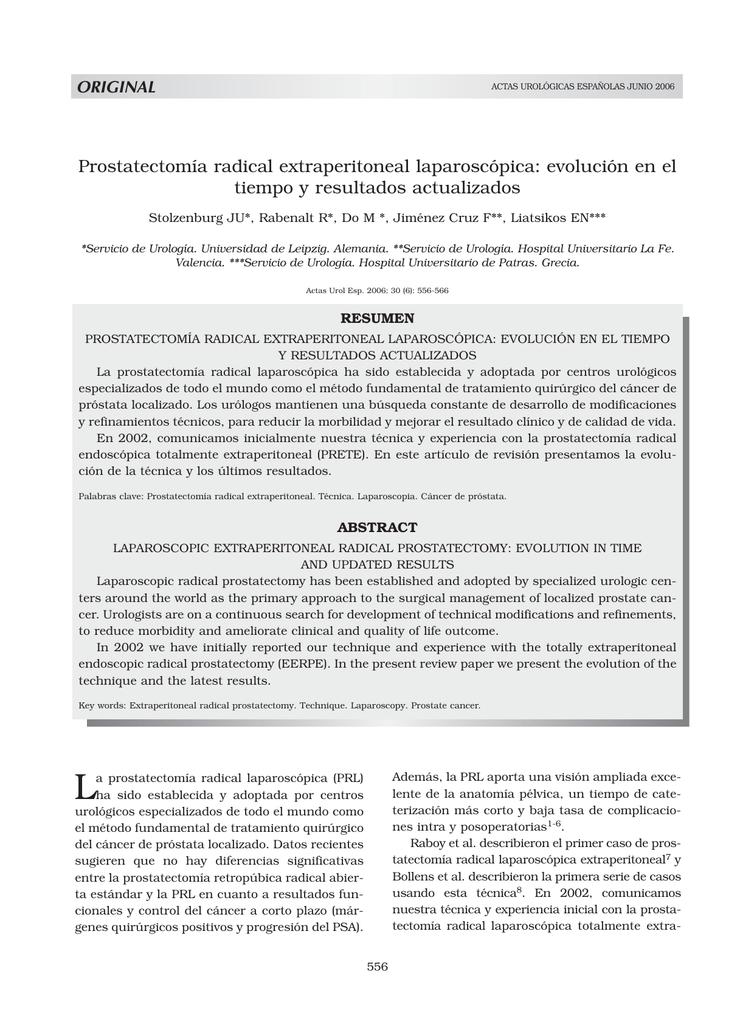 Prostatectomía radical extraperitoneal laparoscópica: evolución en