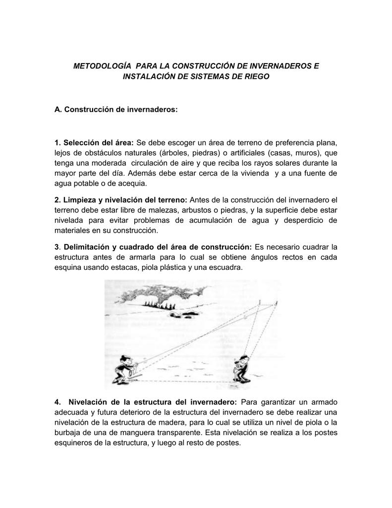 METODOLOGÍA PARA LA CONSTRUCCIÓN DE INVERNADEROS