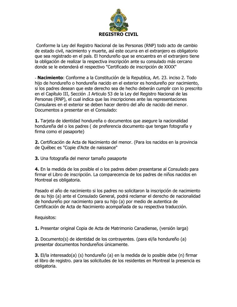 registro civil - Consulado de Honduras