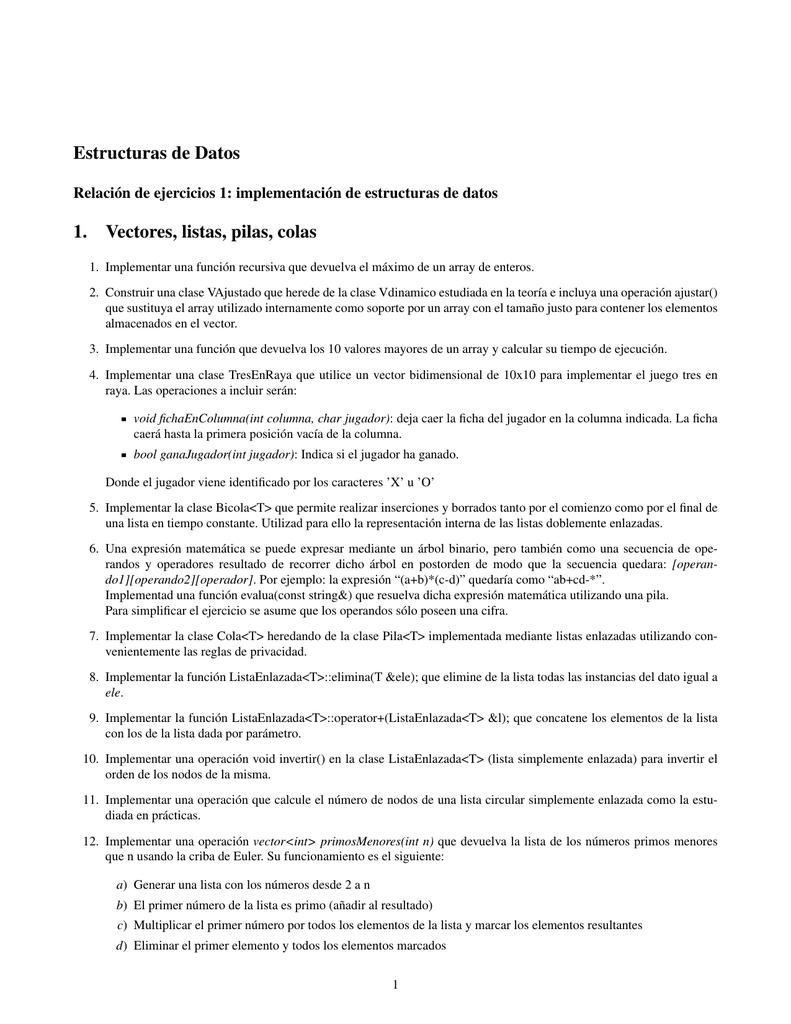 Estructuras De Datos 1 Vectores Listas Pilas Colas