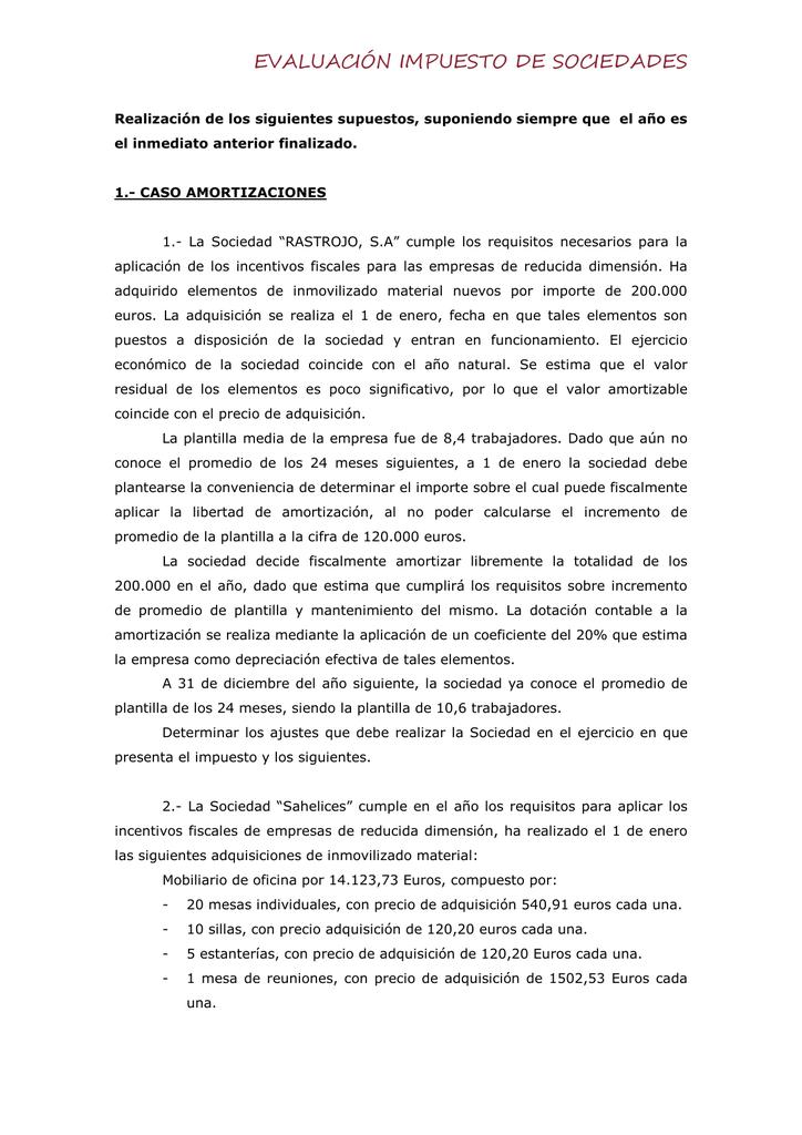 EVALUACIÓN IMPUESTO DE SOCIEDADES