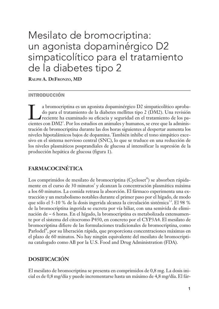 Parlodel 2 5 mg de diabetes bromocriptina