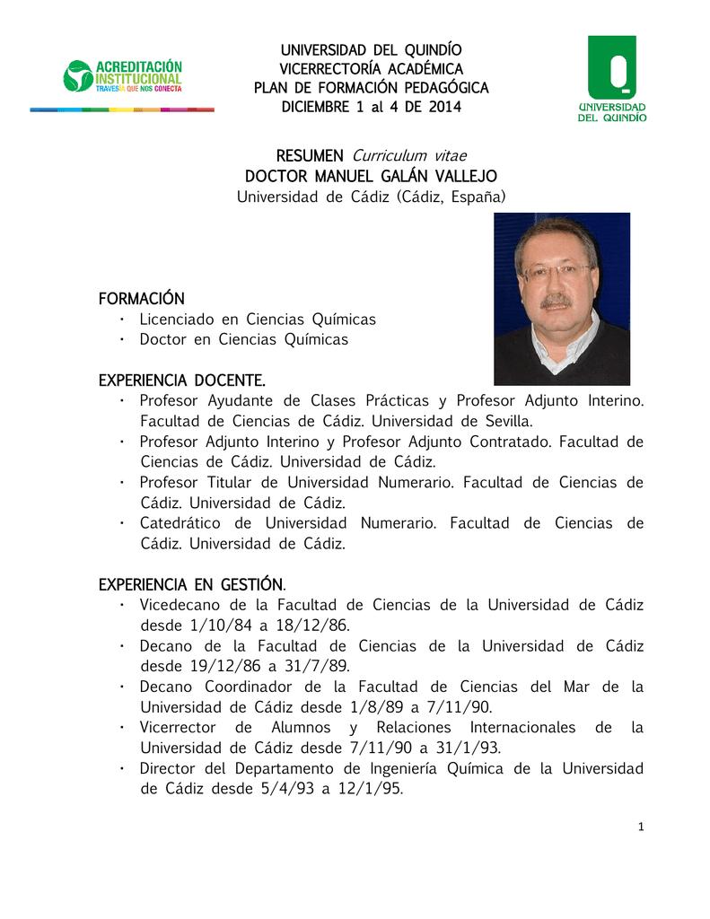 Resumen Curriculum Vitae Universidad Del Quindio