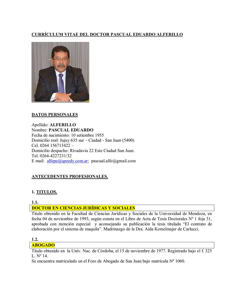 CURRÍCULUM VITAE DEL DOCTOR PASCUAL EDUARDO