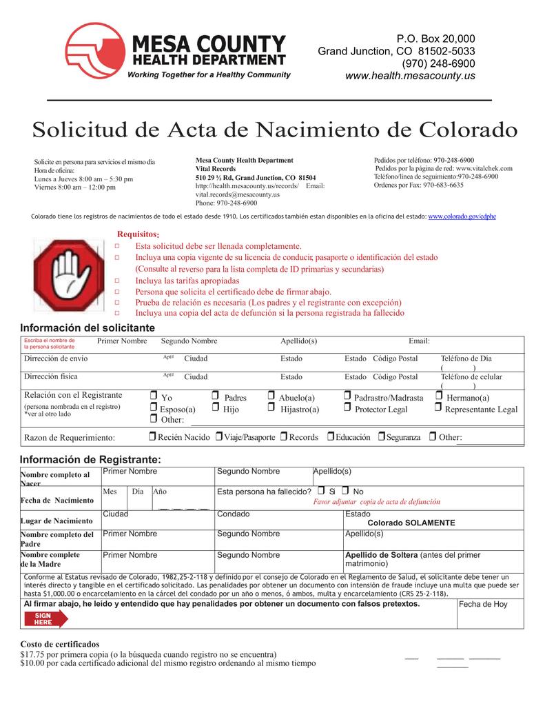 Solicitud de Acta de Nacimiento de Colorado