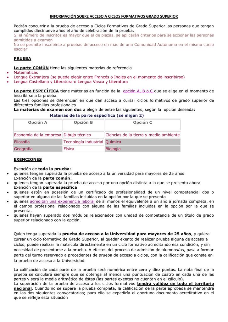 Información Sobre Acceso A Ciclos Formativos Grado