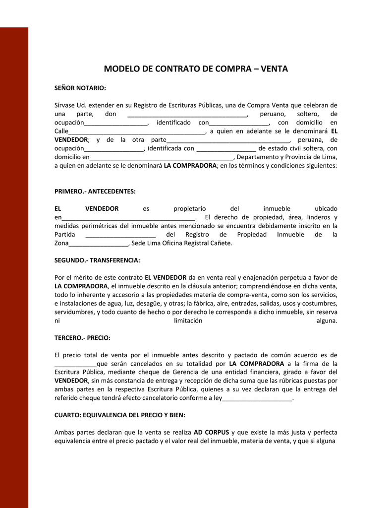 Modelo de contrato de compraventa