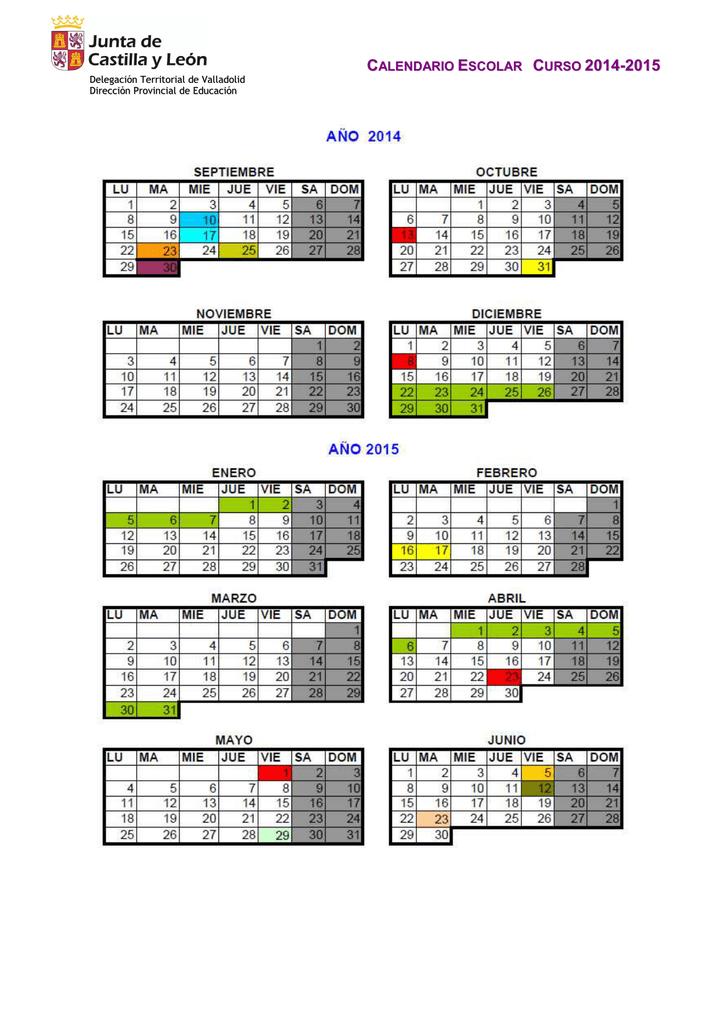 Calendario Escolar Valladolid.Calendario Escolar Curso