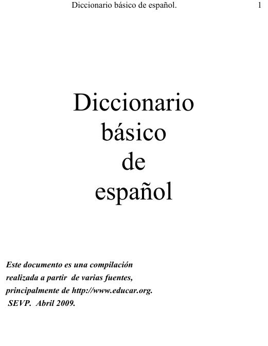 Diccionario Basico de Español en pdf
