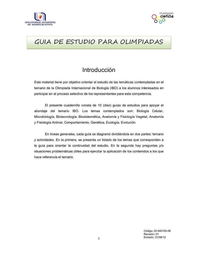 Introducción GUIA DE ESTUDIO PARA OLIMPIADAS DE BIOLOGÍA