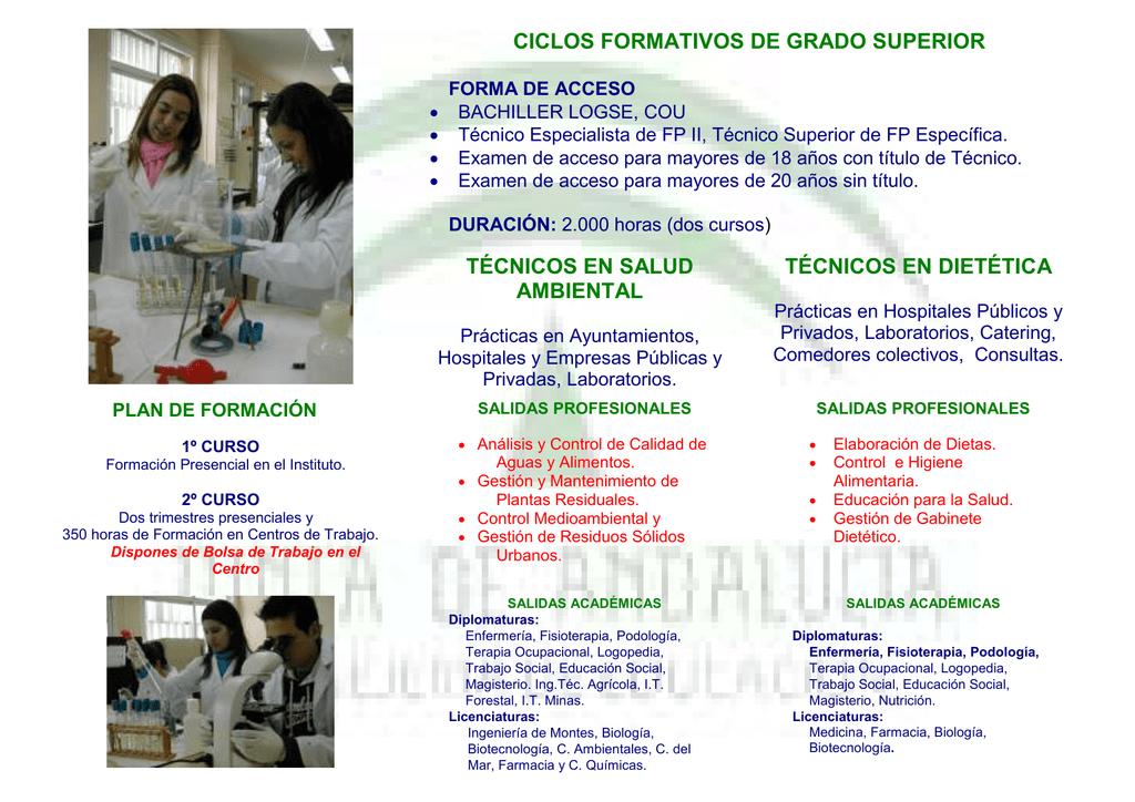 Ciclos Formativos De Grado Superior Técnicos En Salud Ambiental