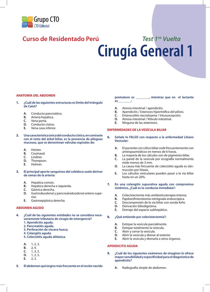 Test Cirugía General 1