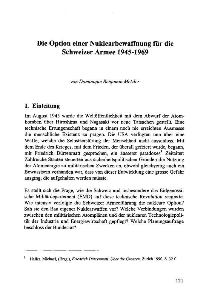Die Option Einer Nuklearbewaffnung Für Die Schweizer Armee 1945