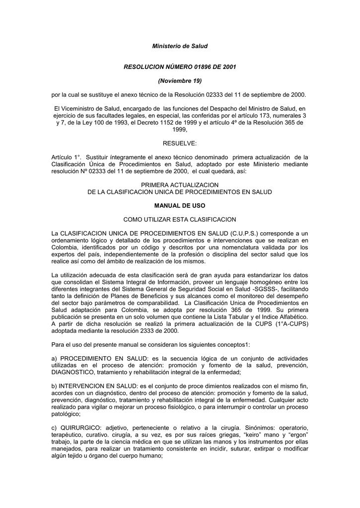 resolución 1896 de 2000 - Ministerio de Salud y Protección Social