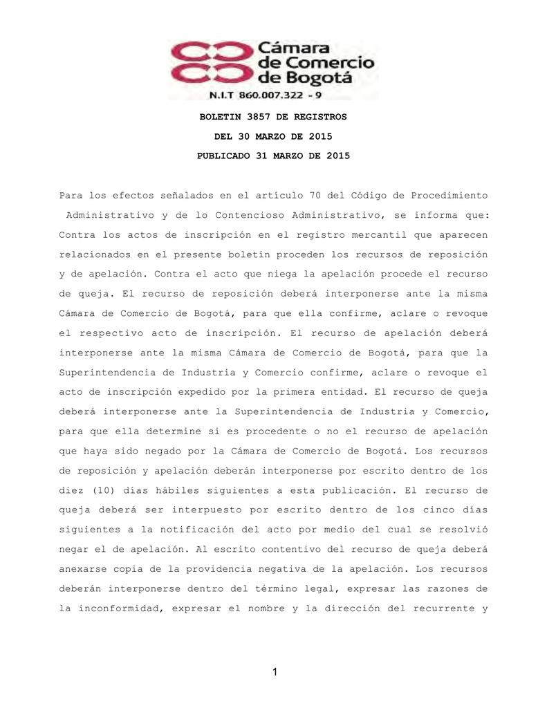BOLETIN 3857 DE REGISTROS DEL 30 MARZO DE 2015