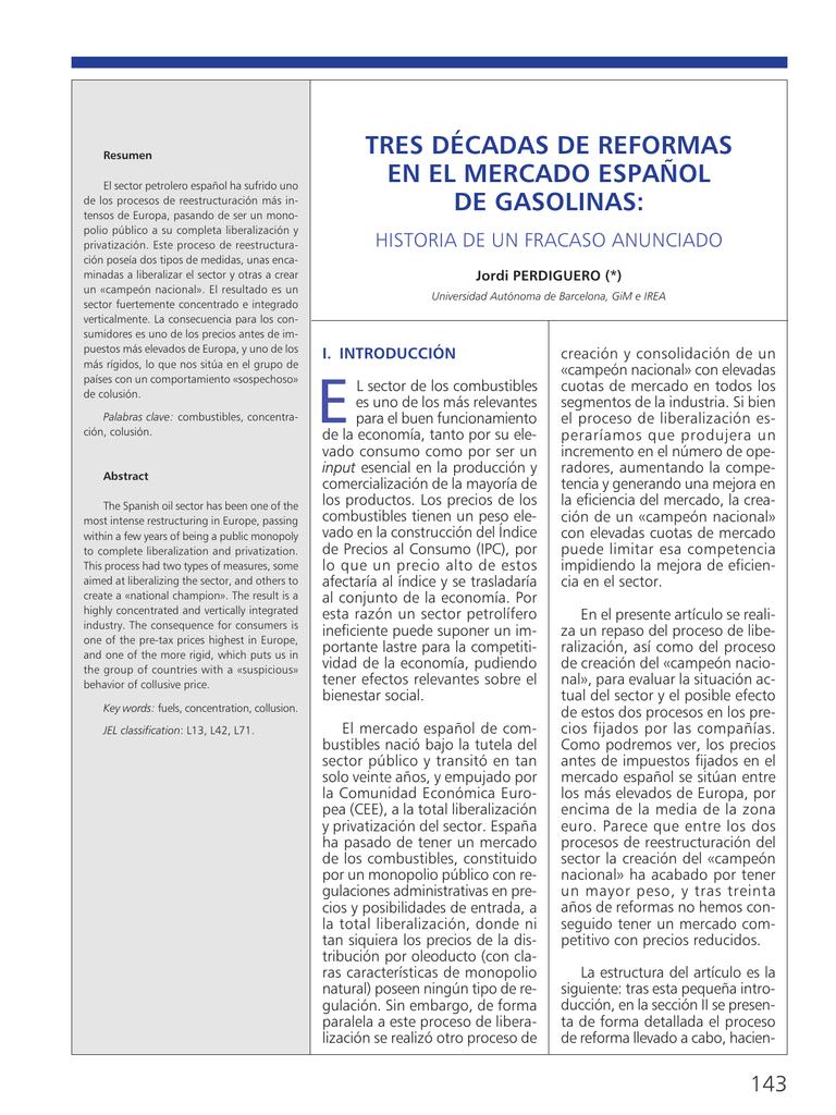 tres décadas de reformas en el mercado español de