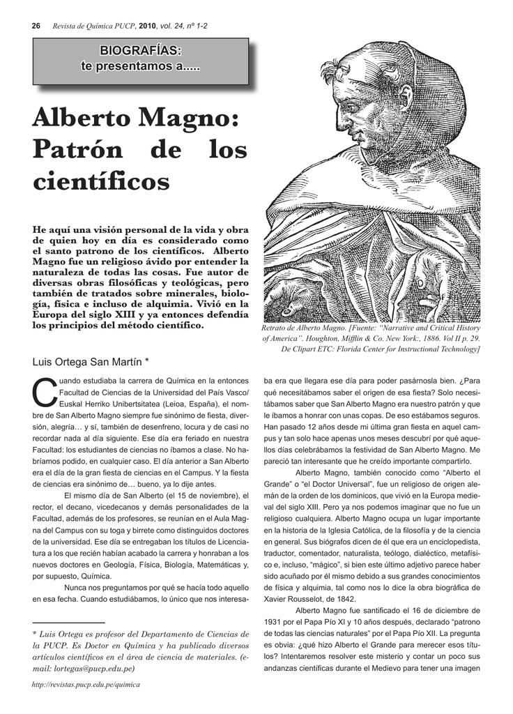 Alberto Magno Patrón De Los Científicos Revistas Pucp