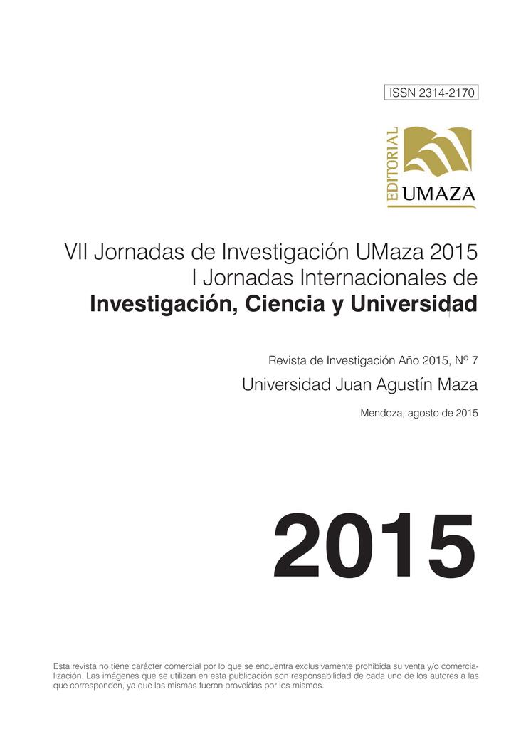 a65a35bae9c4 VII Jornadas de Investigación UMaza 2015 I Jornadas